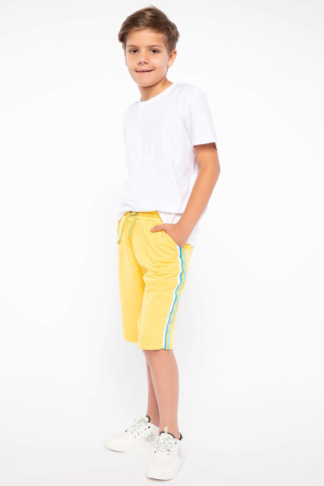DeFacto Erkek Çocuk Bağcık Detaylı Bermuda Sarı male