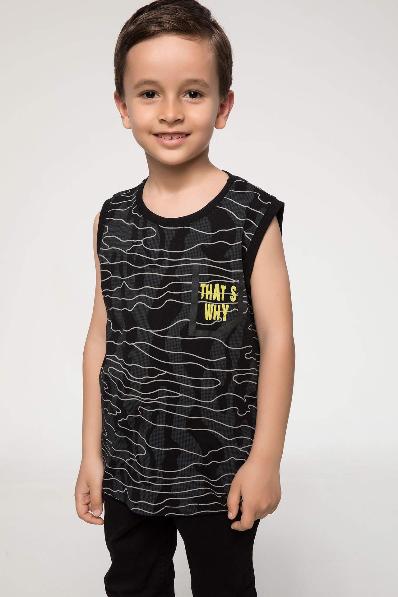 DeFacto Erkek Çocuk Baskılı Atlet Siyah male