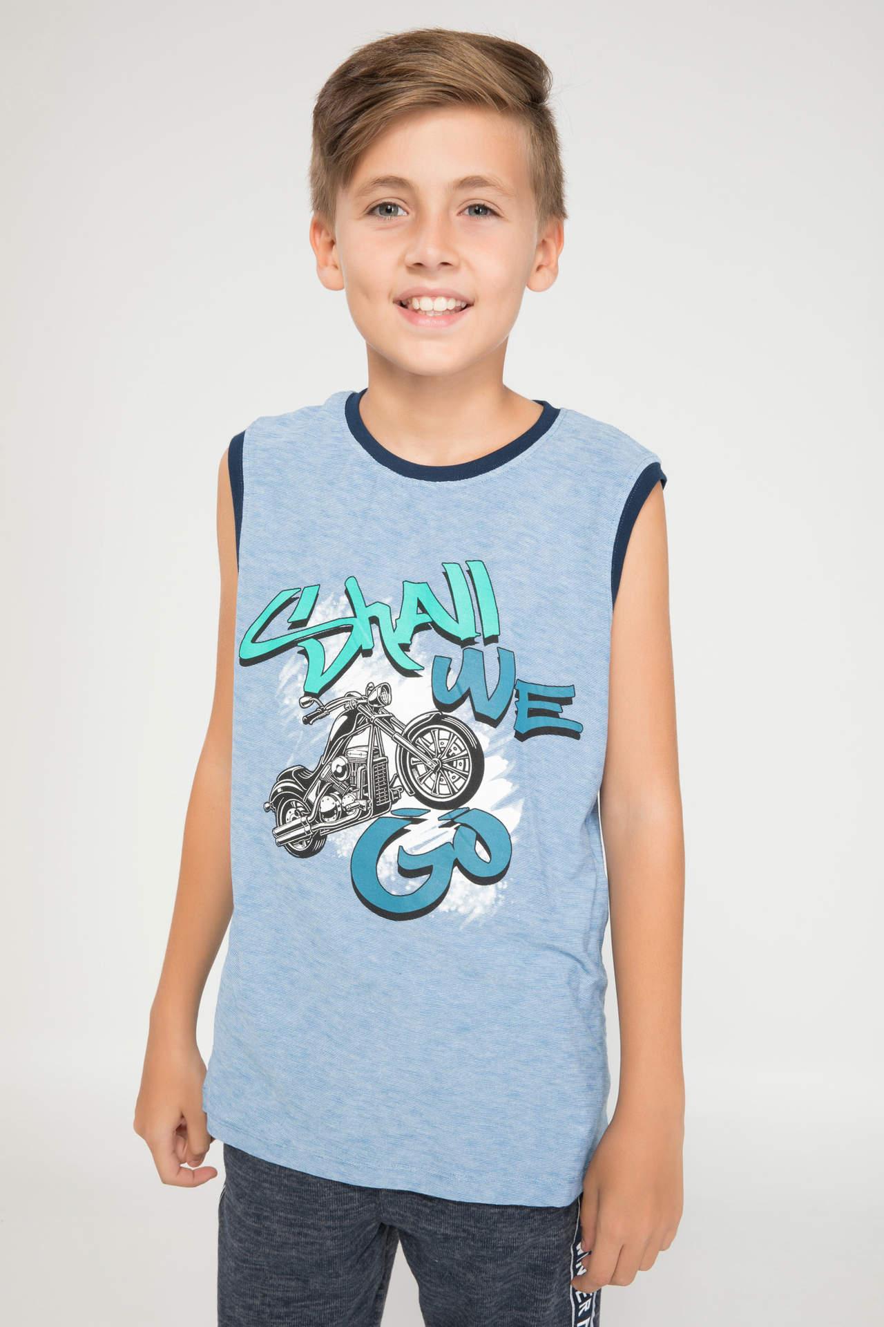 DeFacto Erkek Çocuk Baskılı Atlet Mavi male