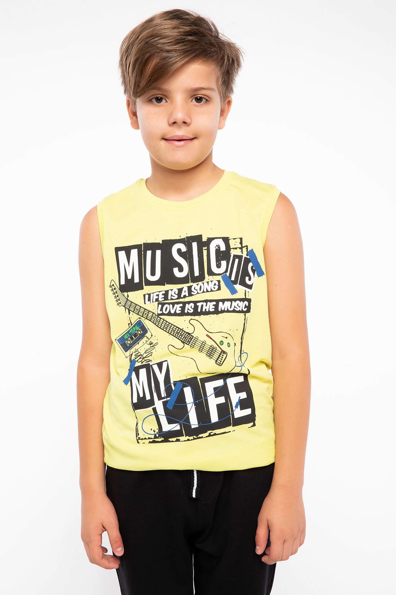 DeFacto Erkek Çocuk Baskılı Atlet Sarı male