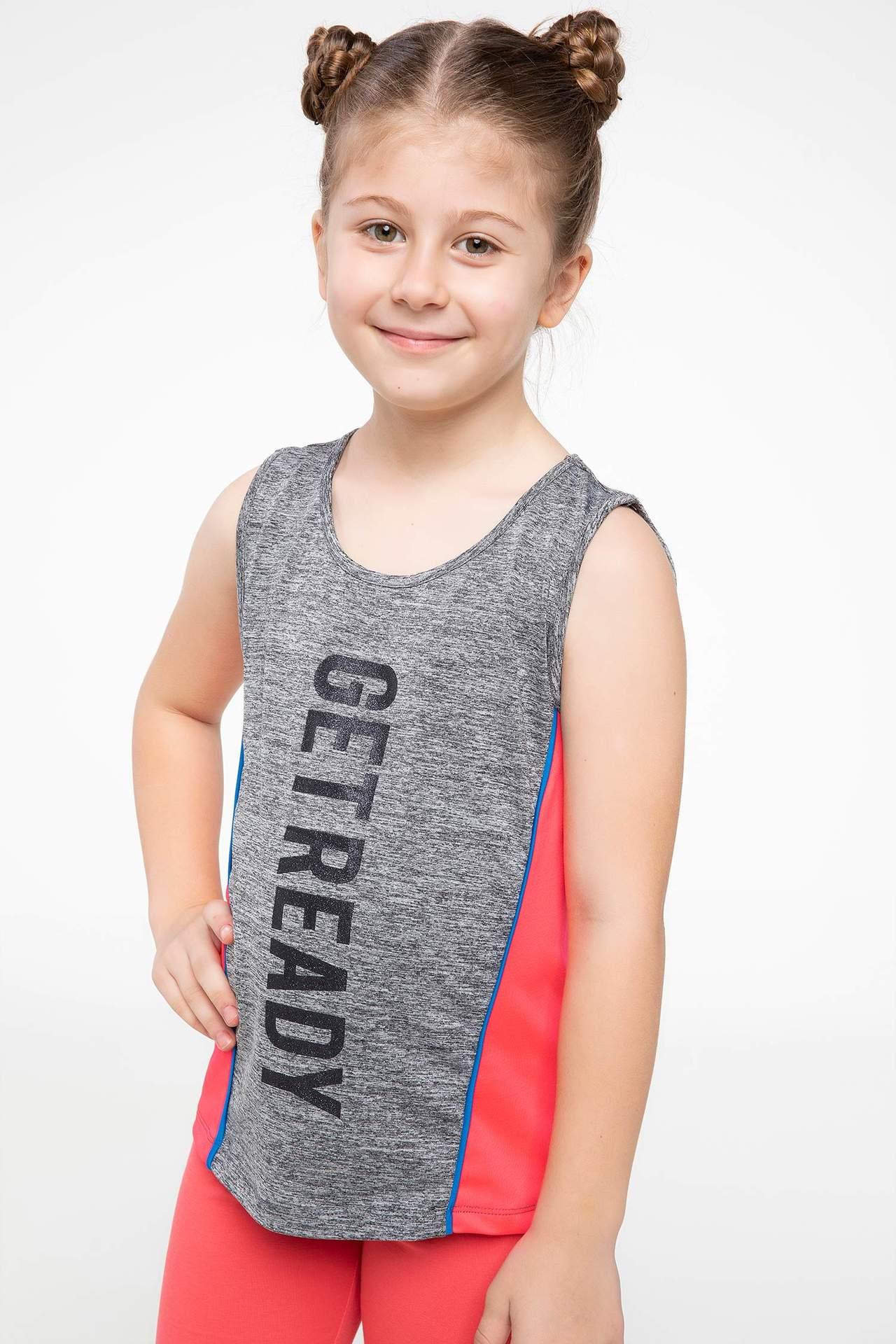 DeFacto Kız Çocuk Baskılı Atlet Gri female