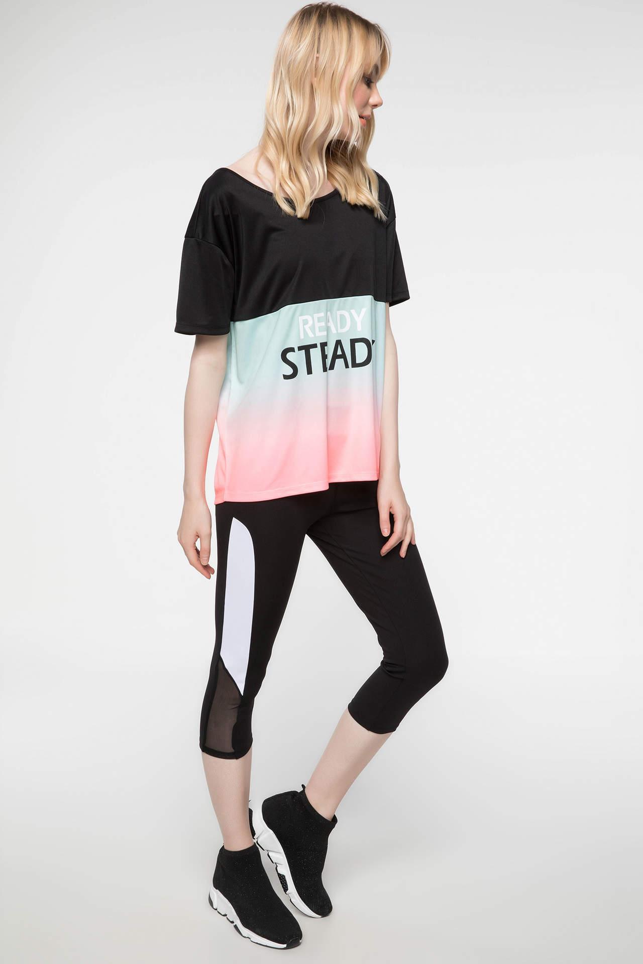 DeFacto Kadın Dekolte Detaylı Slim Fit Sporcu Tayt Siyah female