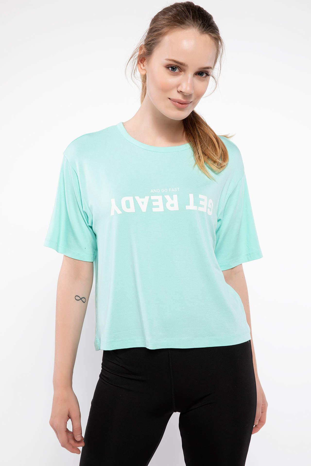 DeFacto Kadın Slogan Baskılı Sporcu Kısa T-shirt Turkuaz female