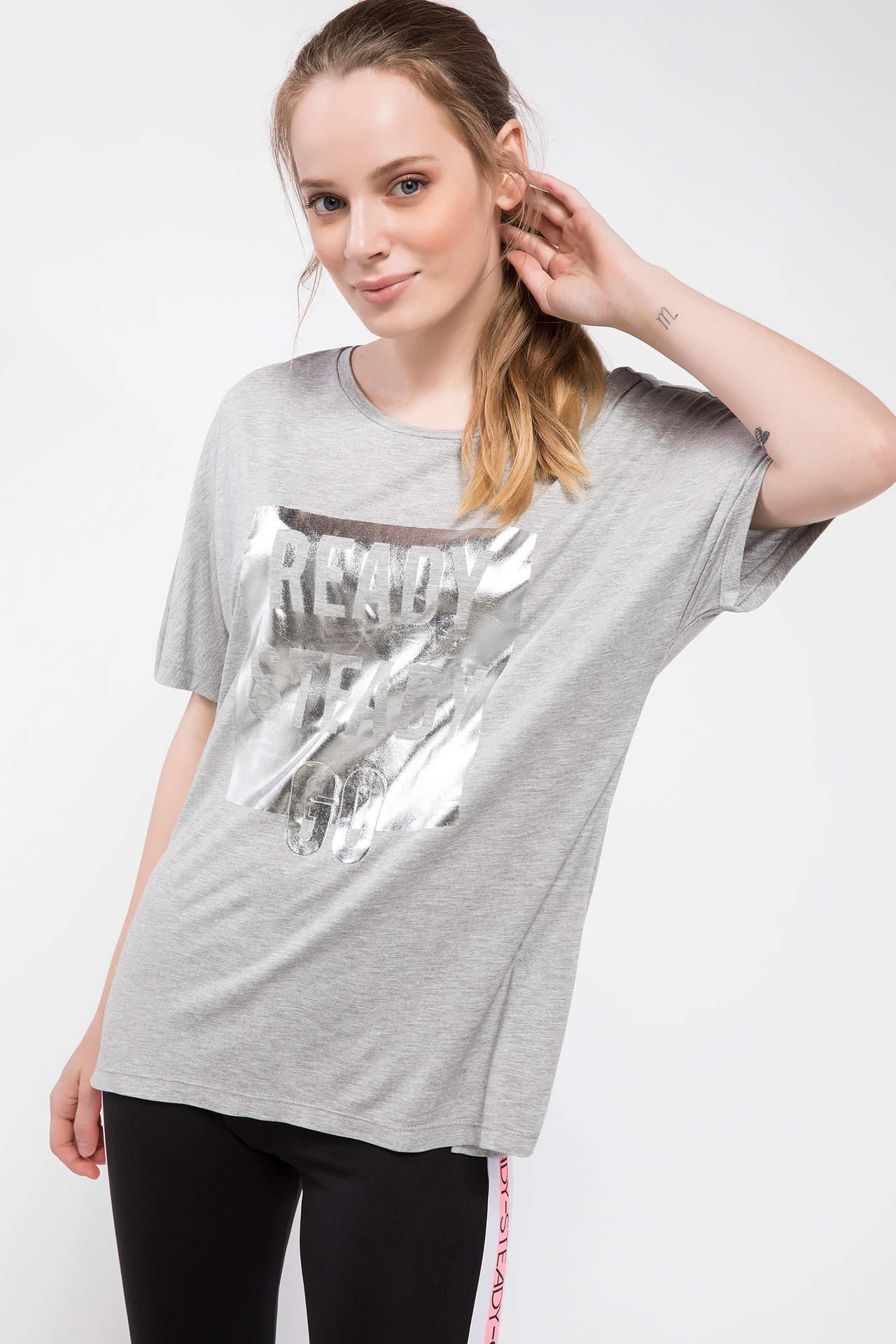 DeFacto Kadın Yazı Baskılı Sporcu T-shirt Gri female