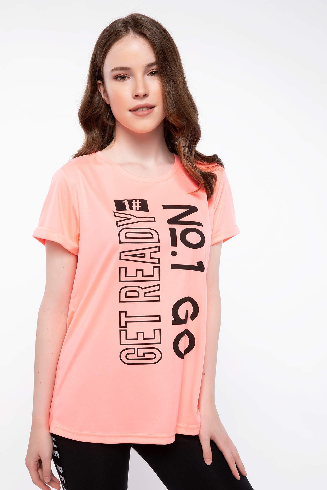 DeFacto Kadın Baskılı Sporcu T-shirt Kırmızı female