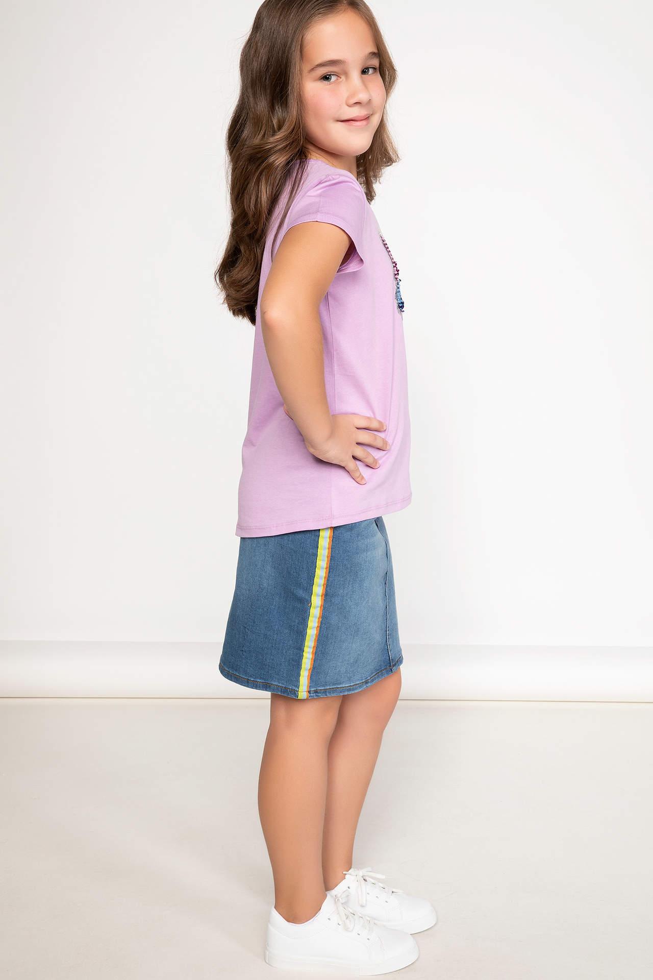 DeFacto Kız Çocuk Şerit Detaylı Yazı Baskılı Jean Mini Etek Mavi female