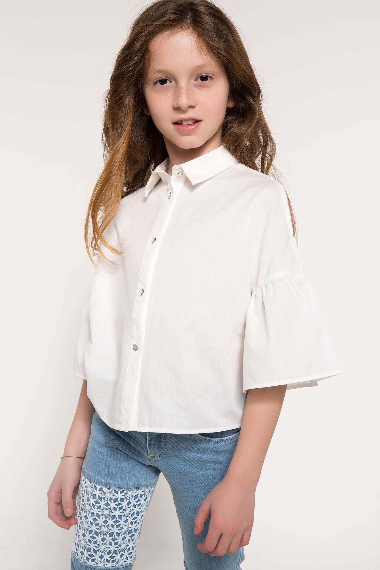 DeFacto Kız Çocuk Volan Detaylı Gömlek Ekru female