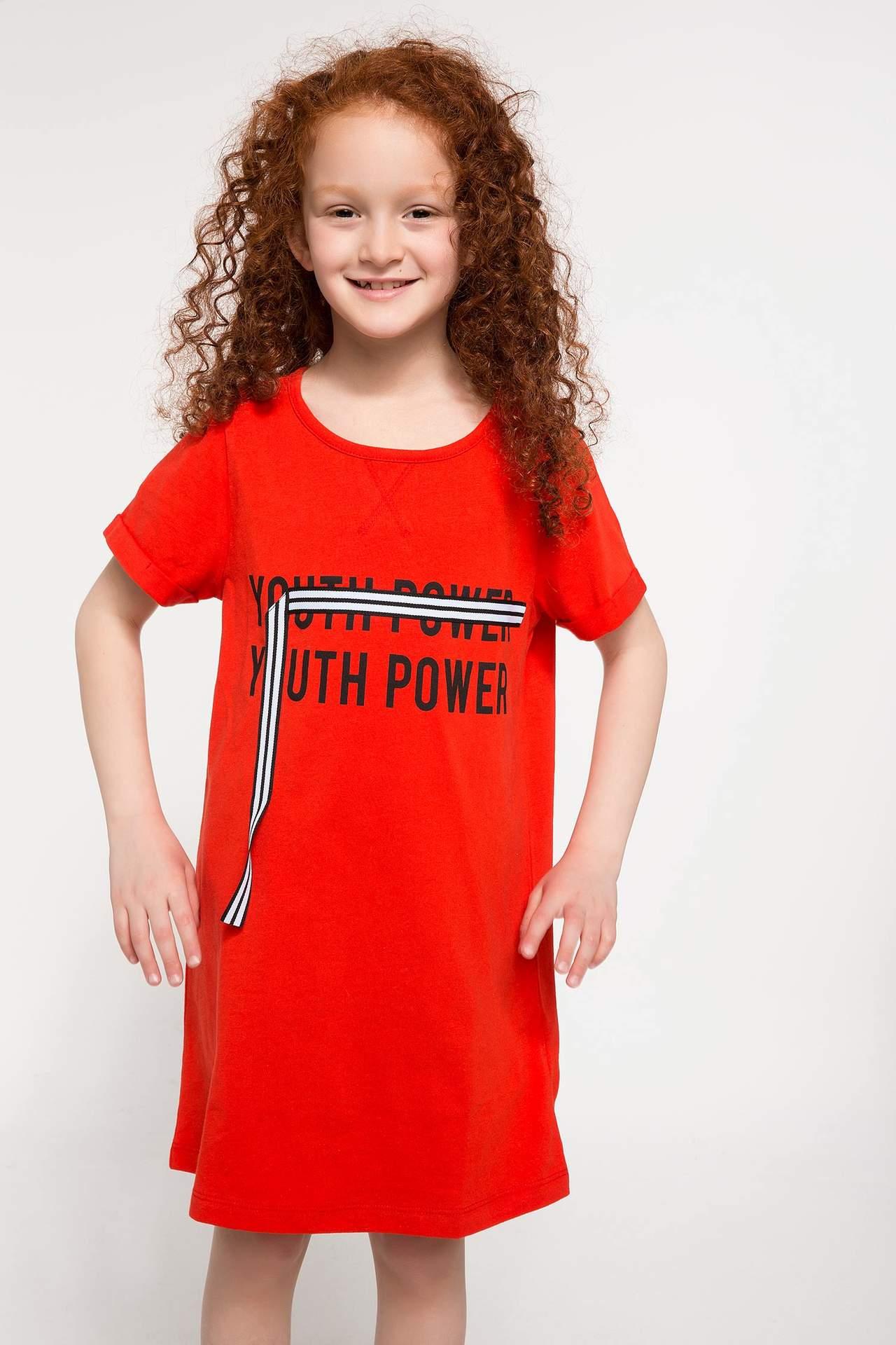 DeFacto Kız Çocuk Yazı Baskılı Elbise Kırmızı female