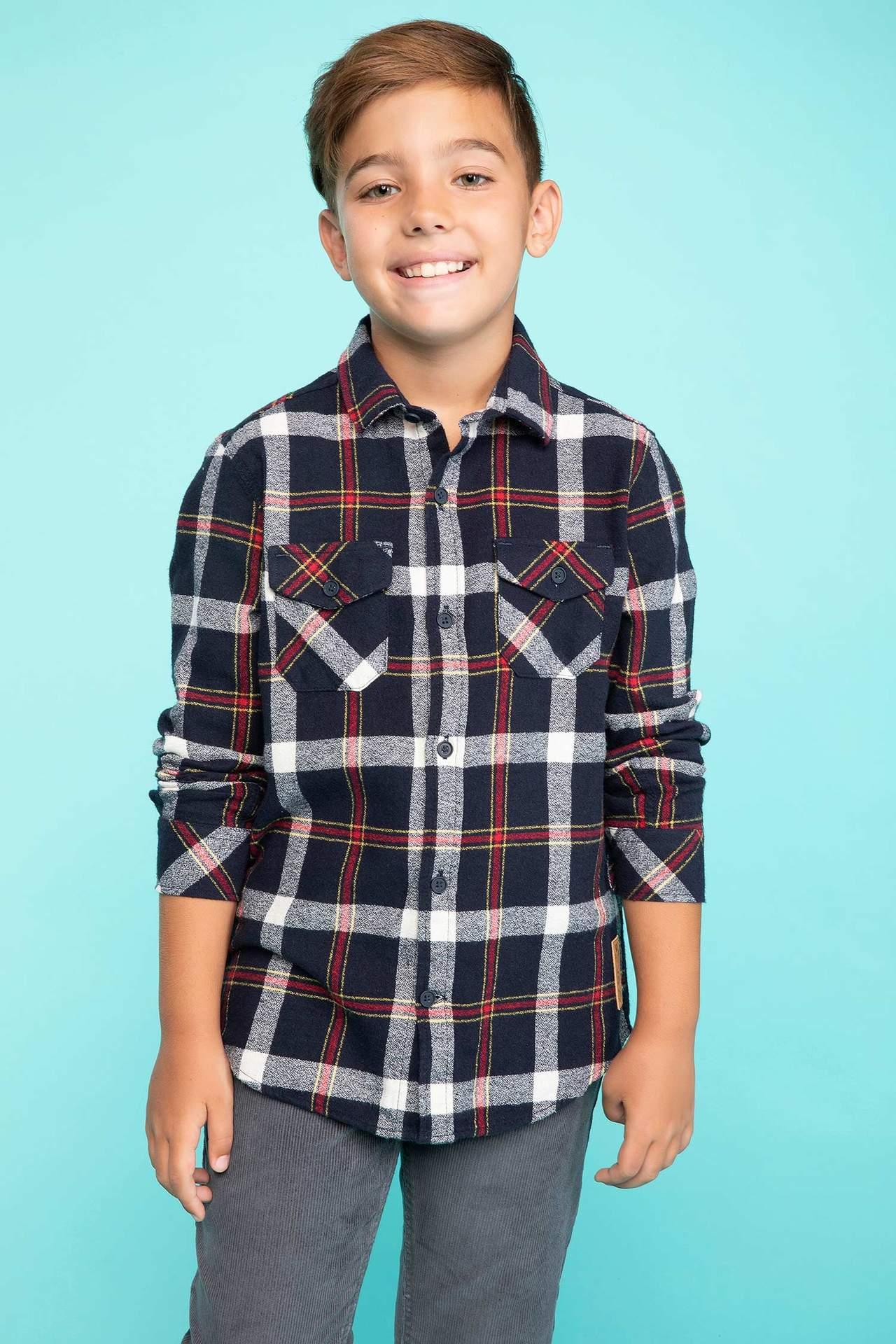 DeFacto Erkek Çocuk Cep Detaylı Kareli Gömlek Lacivert male