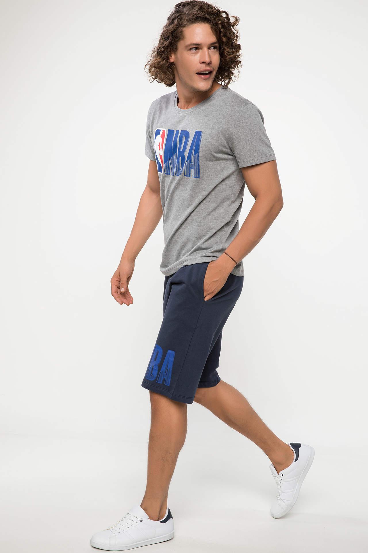 DeFacto Erkek NBA Lisanslı Logo Baskılı Basic Roller Mavi male