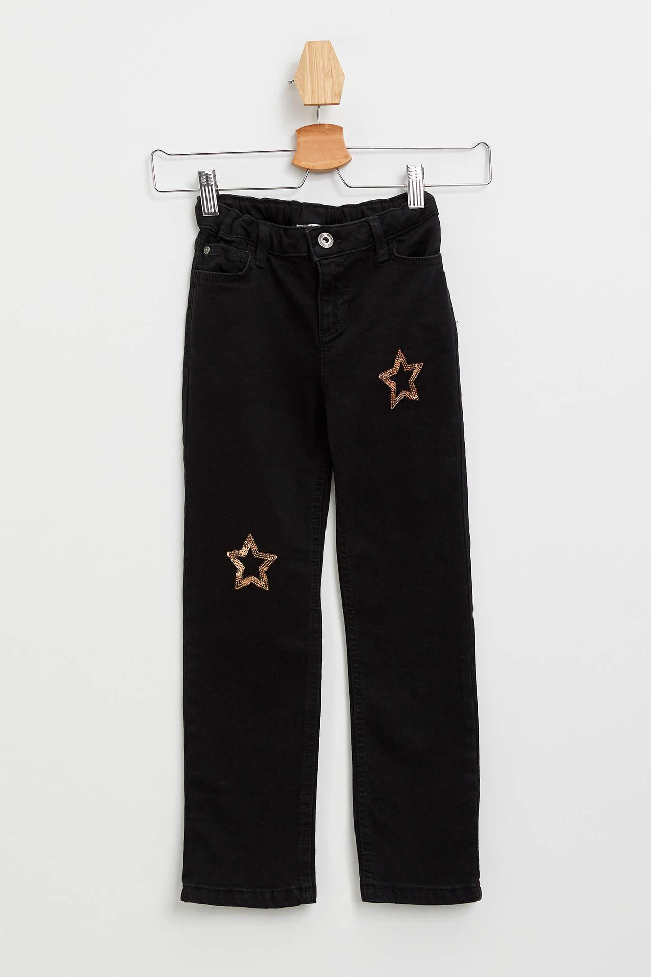DeFacto Kız Çocuk Slim Fit Jean Pantolon Gri female