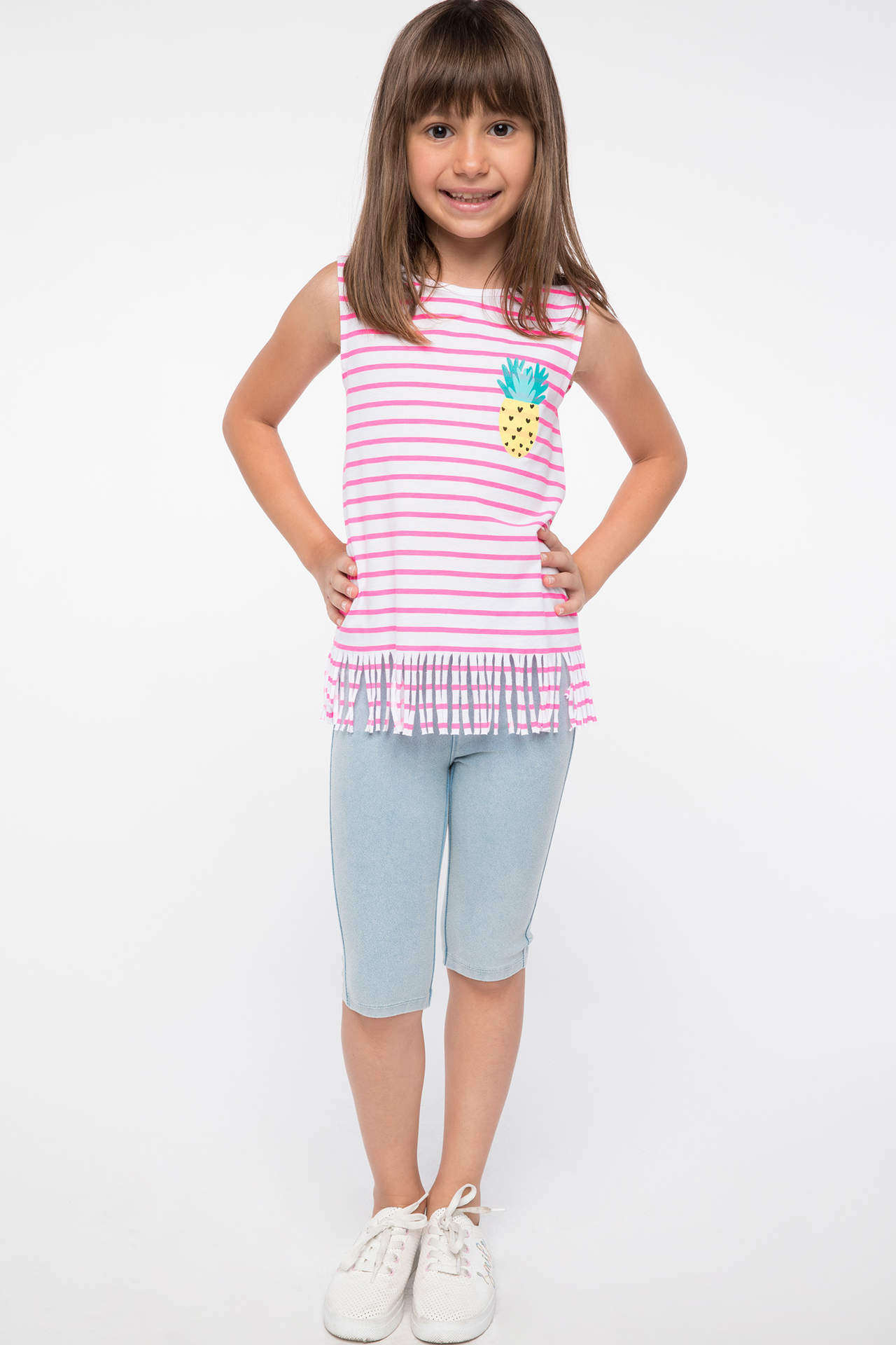 DeFacto Kız Çocuk Cep Detaylı Slim Fit Tayt Mavi female