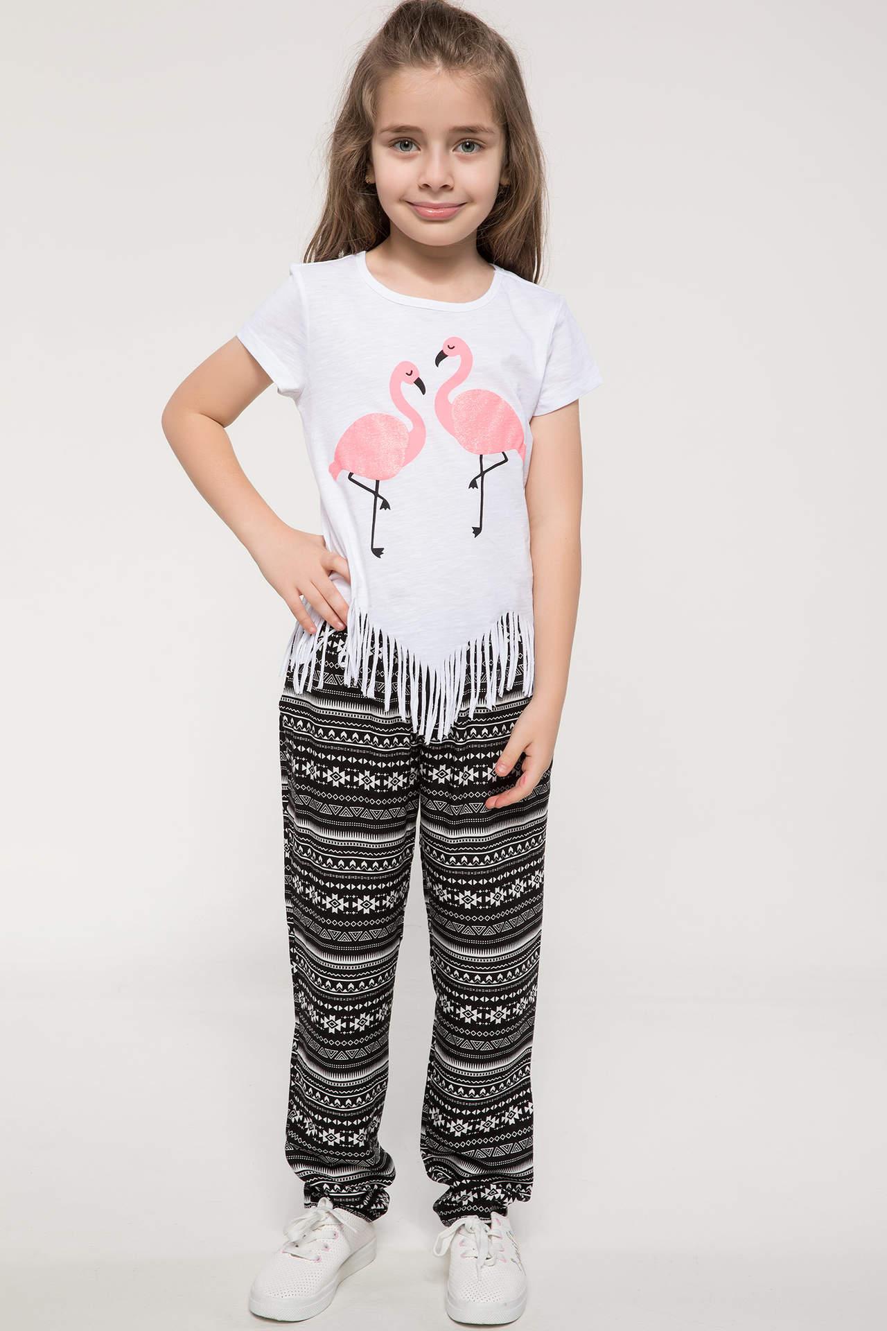 DeFacto Kız Çocuk Etnik Desenli Bağcık Detaylı Pantolon Siyah female