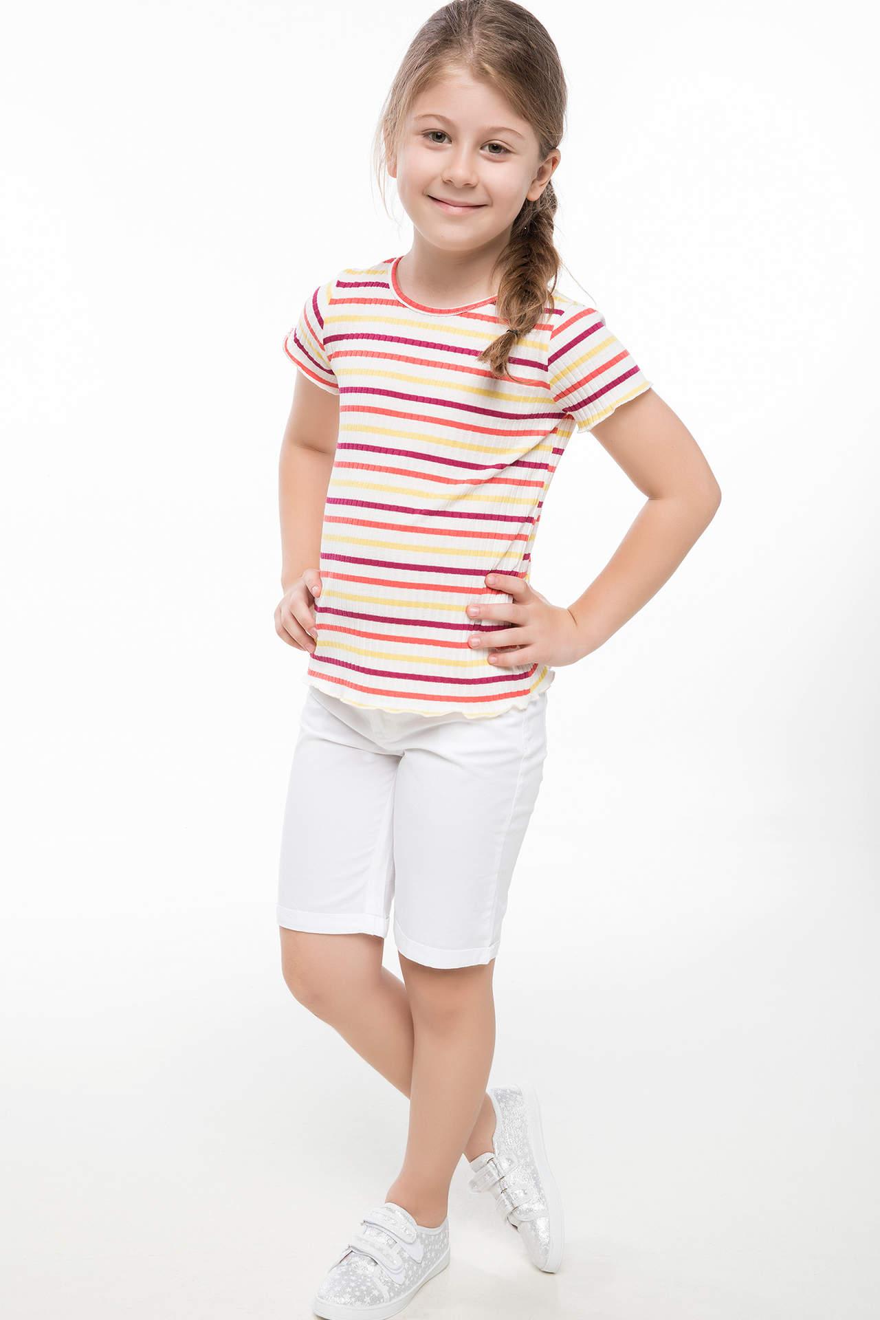 DeFacto Kız Çocuk 5 Cepli Uzun Şort Beyaz female
