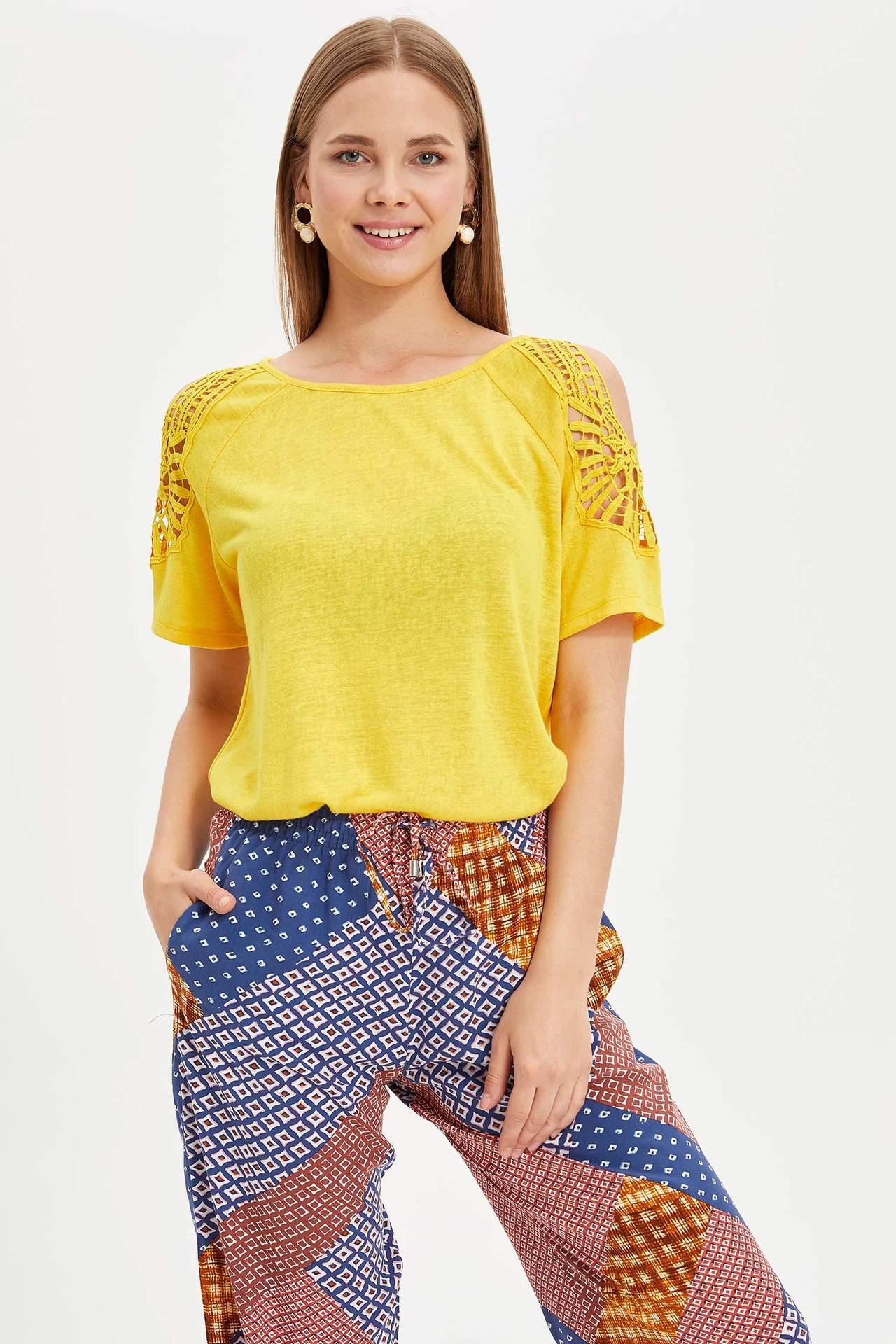DeFacto Kadın Reglan Kısa Kollu T-shirt Sarı female