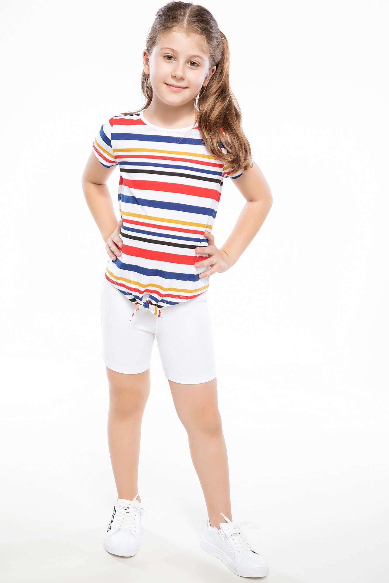 DeFacto Kız Çocuk Cep Detaylı Slim Fit Mini Şort Beyaz female