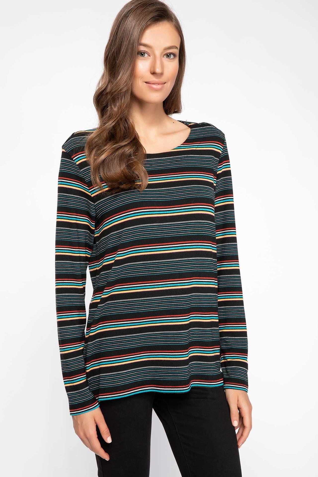 DeFacto Kadın Uzun Kollu Çizgili T-shirt Siyah female