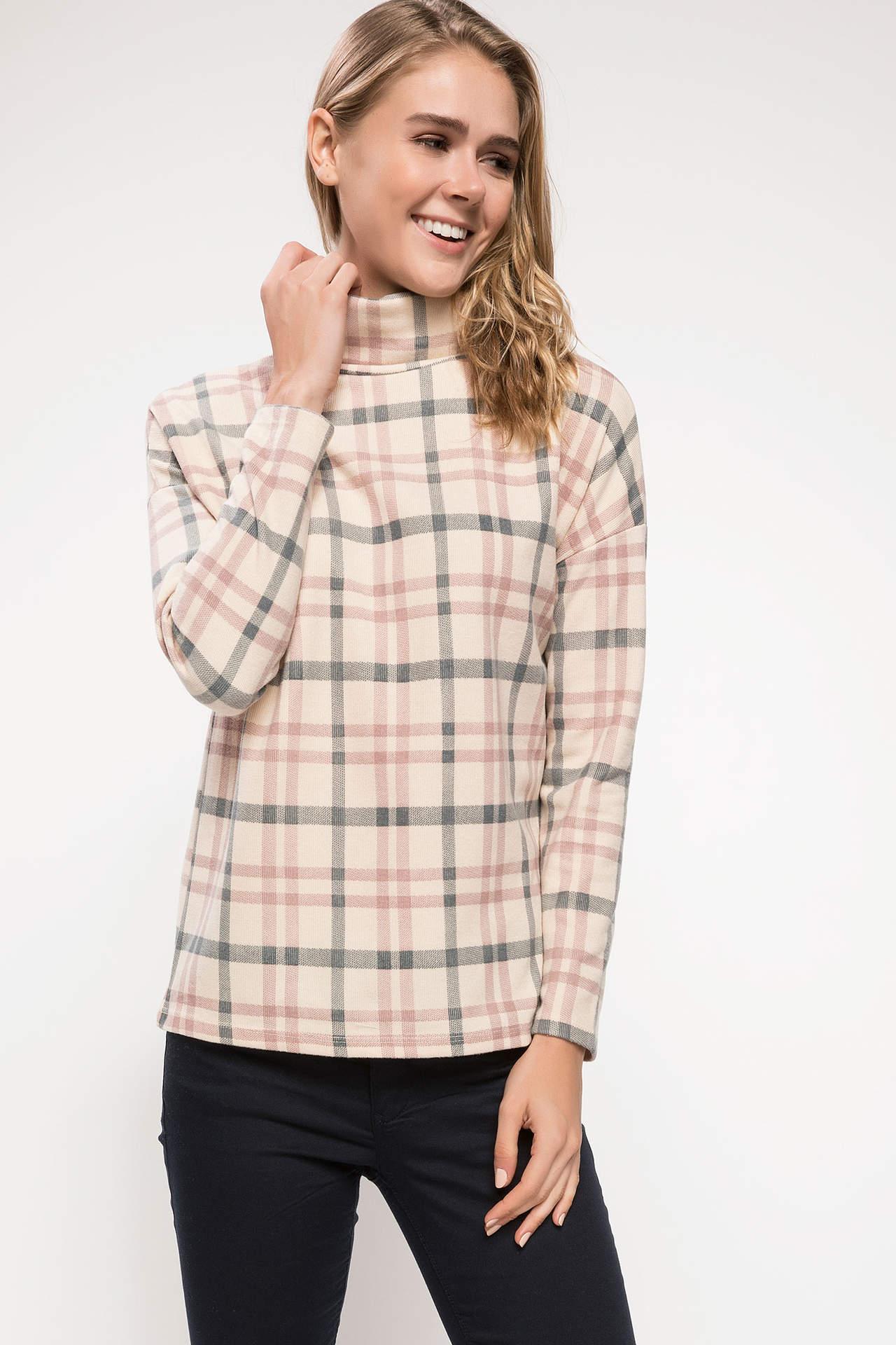 DeFacto Kadın Uzun Kollu Boğazlı Kareli T-shirt Ekru female