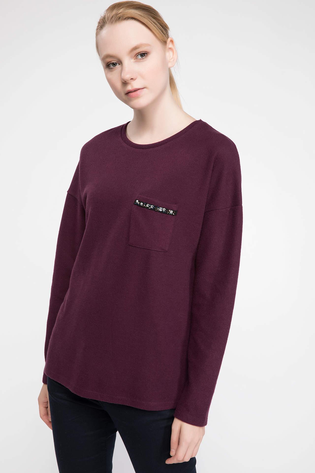 DeFacto Kadın Taş İşleme Detaylı Uzun Kollu T-shirt Mor female