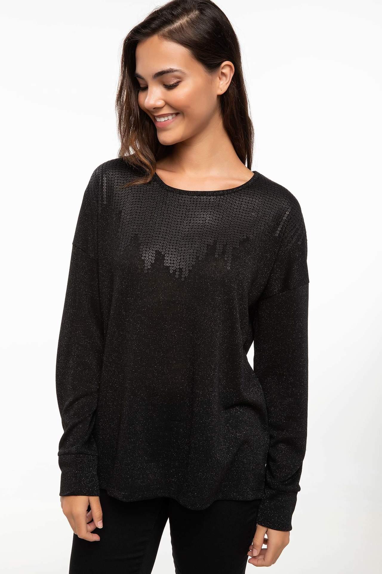 DeFacto Kadın Uzun Kollu T-shirt Siyah female
