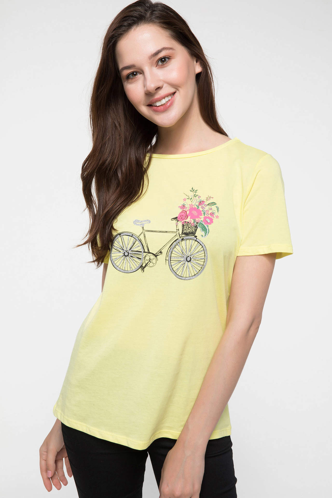 DeFacto Kadın Baskılı Kısa Kollu T-shirt Sarı female