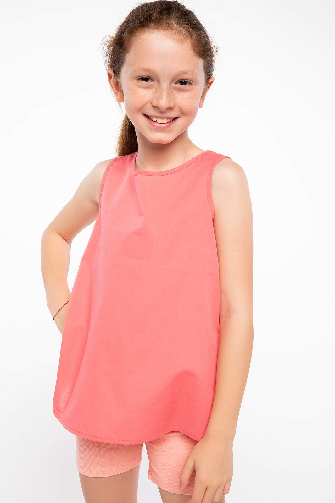 DeFacto Kız Çocuk Sırtı Bağcık Detaylı Bluz Pembe female