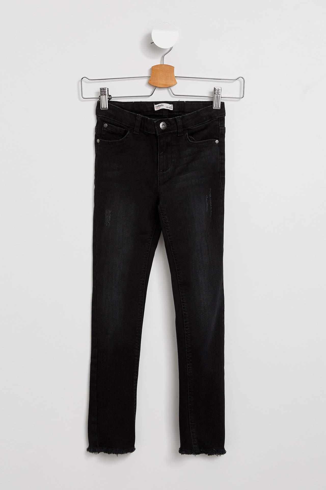 DeFacto Kız Çocuk Skinny Fit Jean Pantolon Gri female