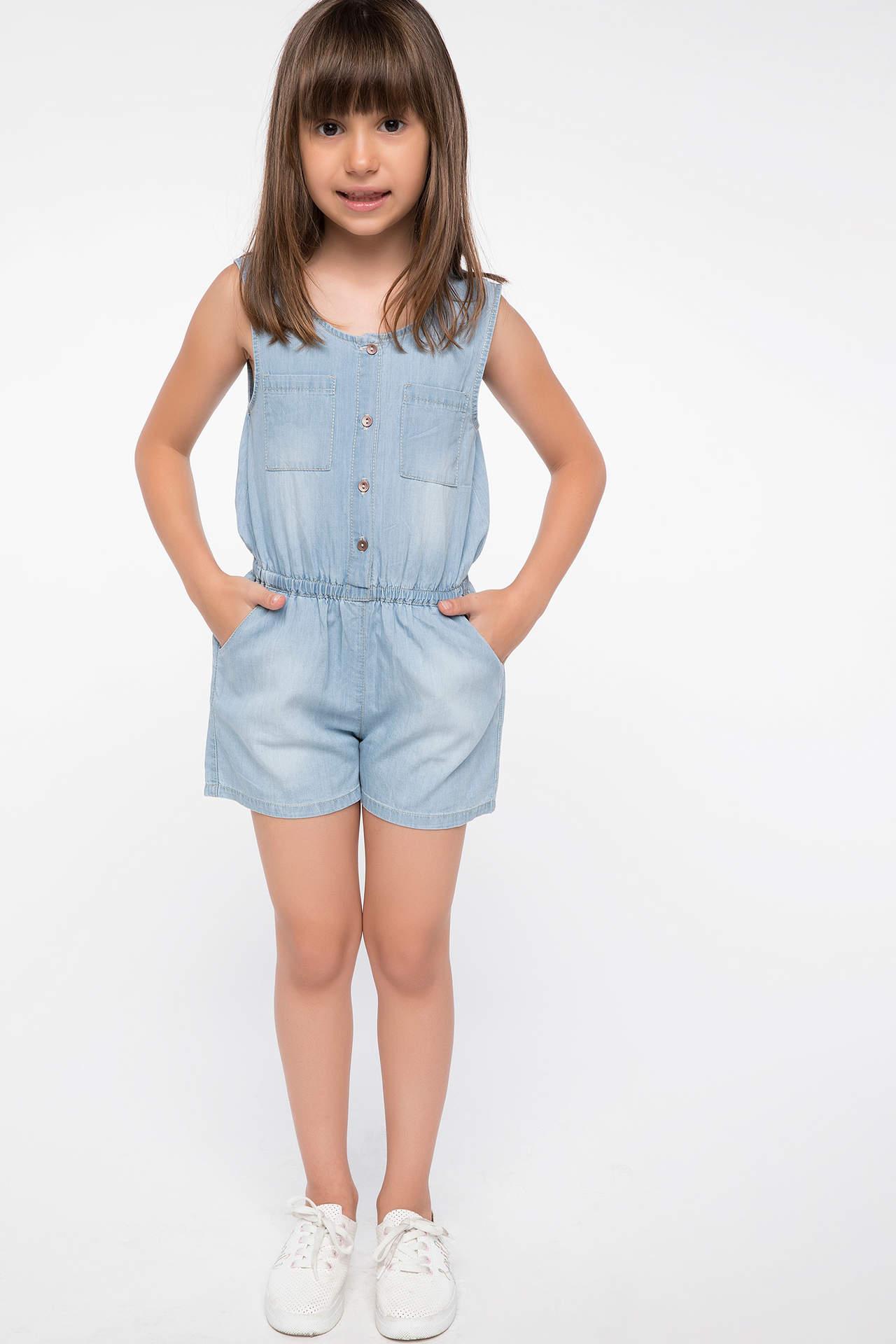 DeFacto Kız Çocuk Cep Detaylı Beli Kemerli Jean Tulum Mavi female