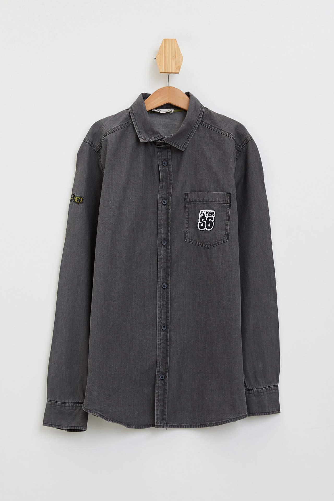DeFacto Erkek Çocuk Patch Detaylı Uzun Kollu T-shirt Gri male