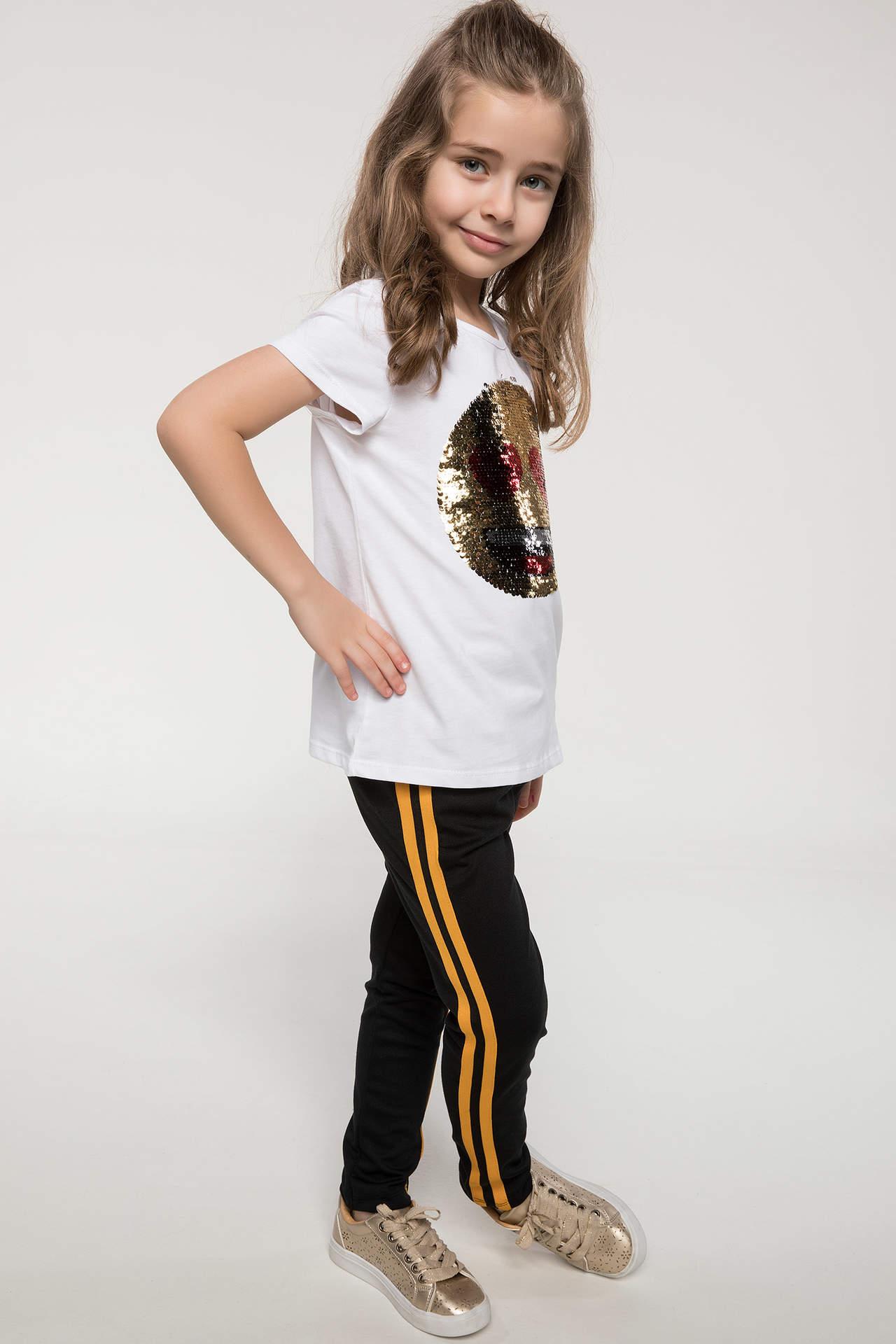 DeFacto Kız Çocuk Baskılı Pantolon Sarı female