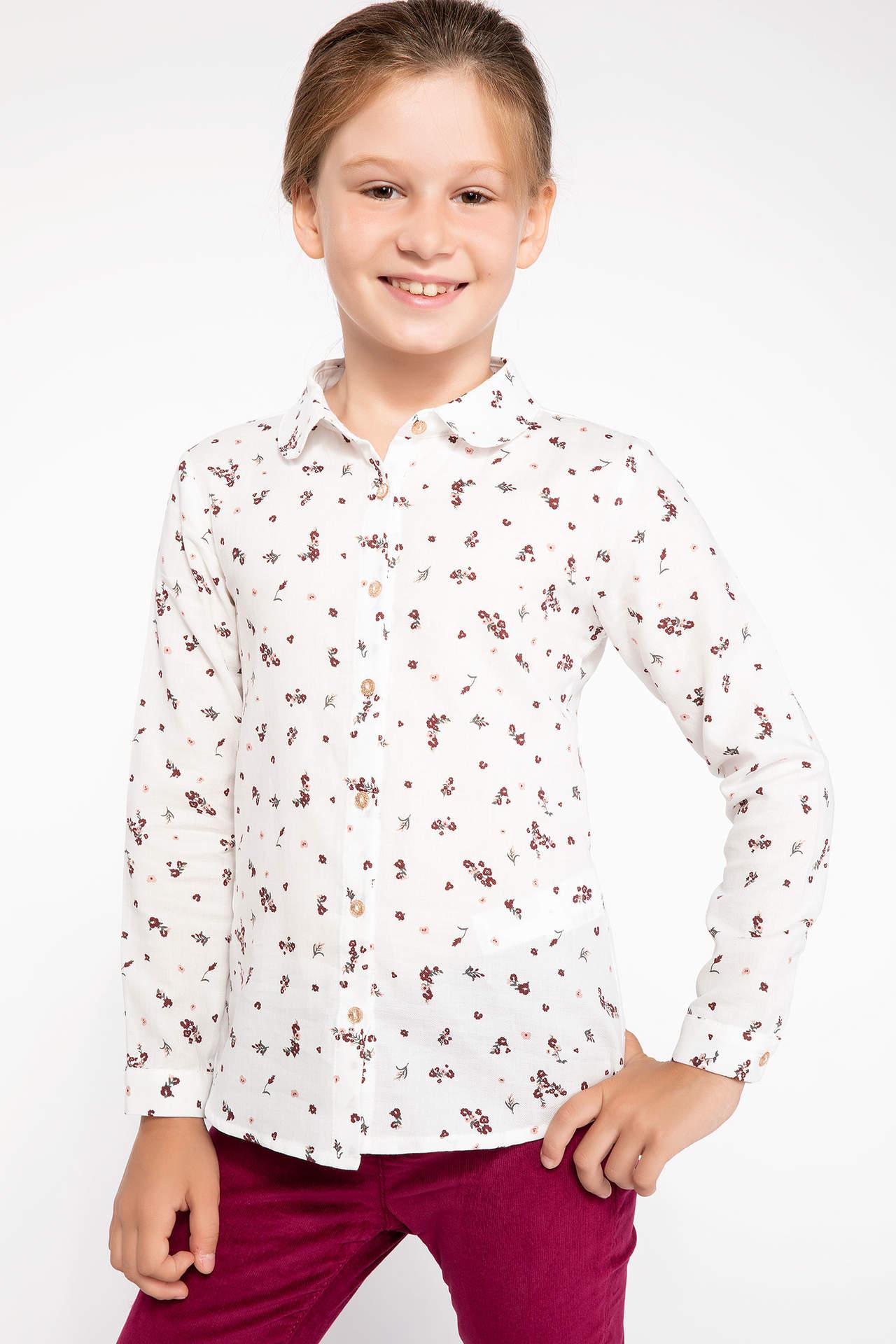 DeFacto Kız Çocuk Çiçek Desenli Uzun Kollu Gömlek Ekru female