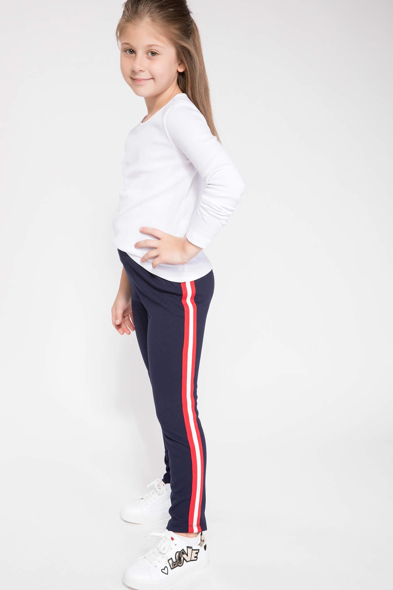 DeFacto Kız Çocuk Yanı Şeritli Pantolon Lacivert female