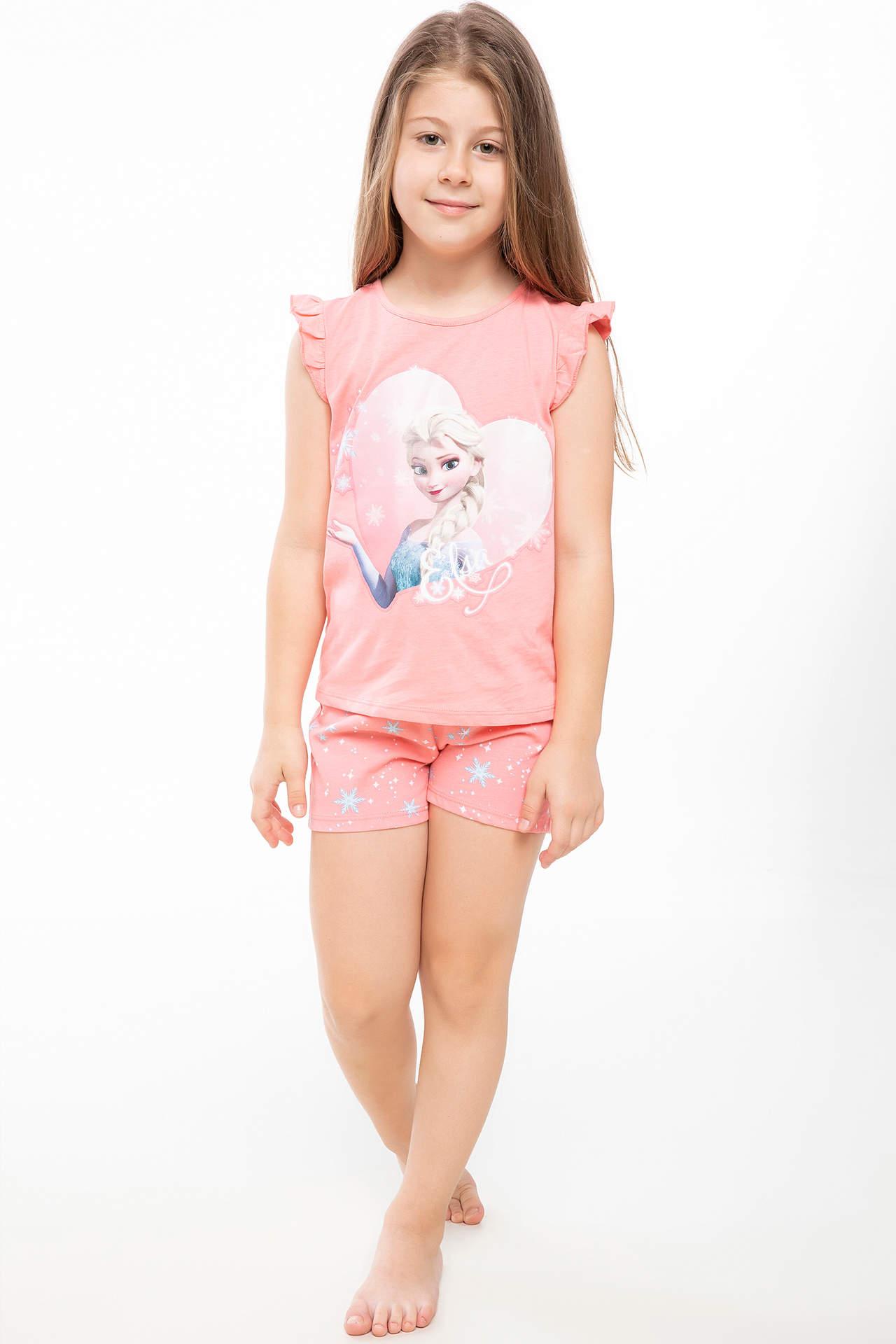 DeFacto Kız Çocuk Lisanslı Frozen Baskılı Pijama Takımı Pembe female