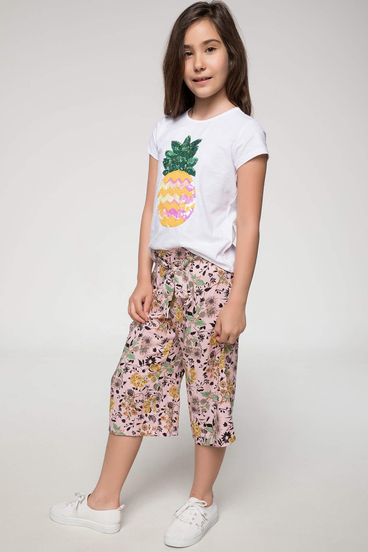 DeFacto Kız Çocuk Kuşak Detaylı Desenli Pantolon Pembe female