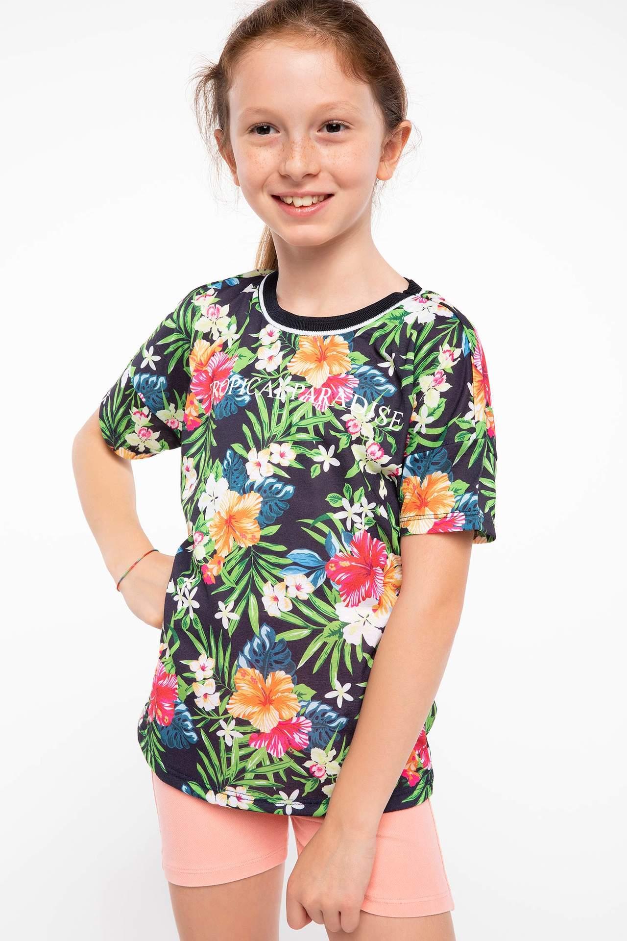 DeFacto Kız Çocuk Desenli T-shirt Lacivert female
