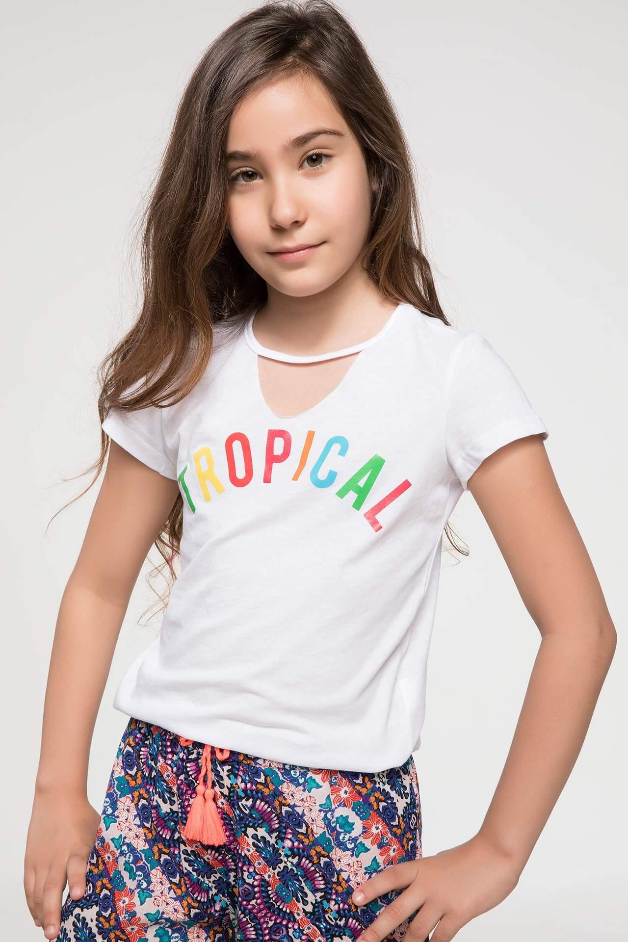 DeFacto Kız Çocuk Tropik Baskılı T-shirt Beyaz female