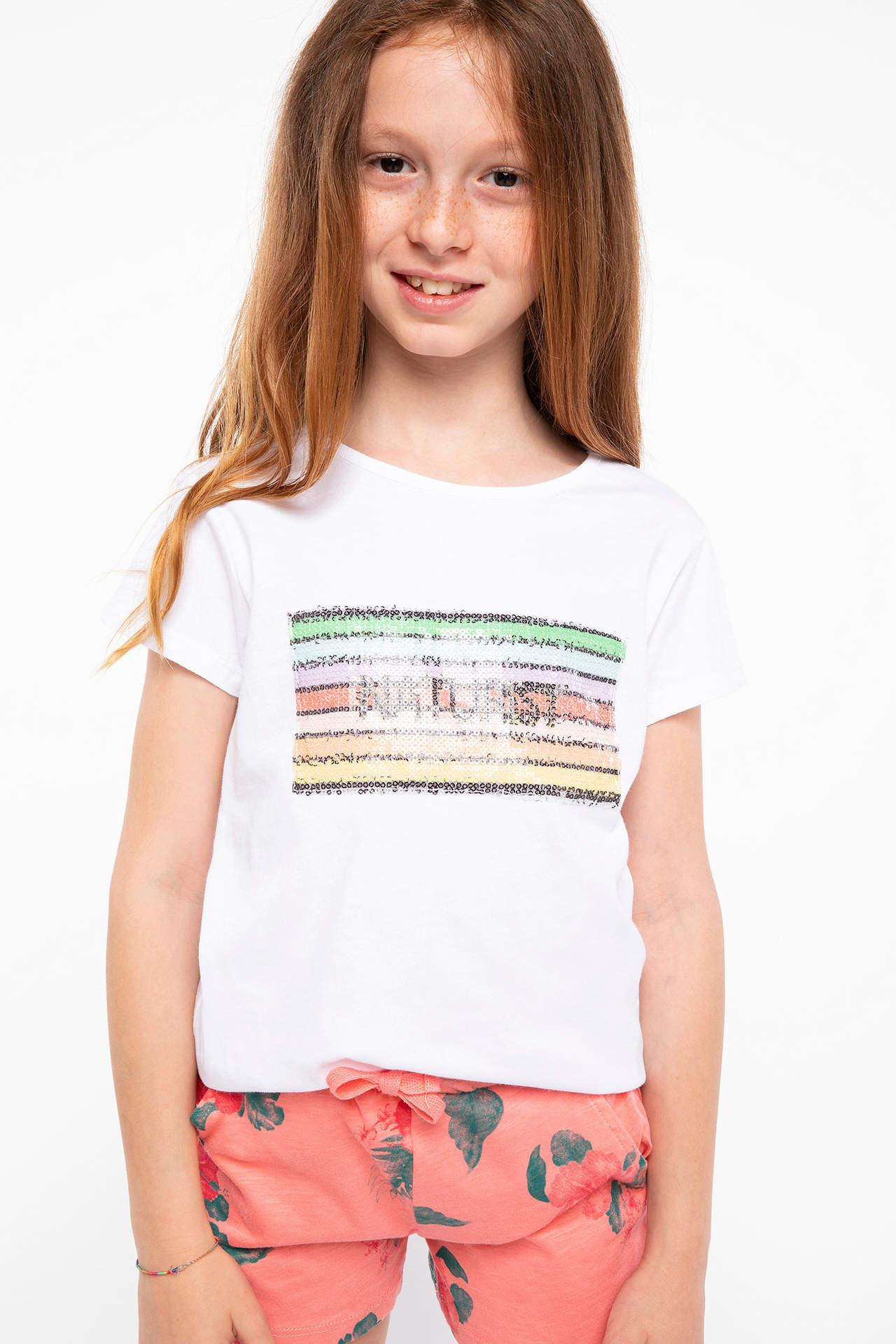 DeFacto Kız Çocuk Baskılı T-shirt Beyaz female