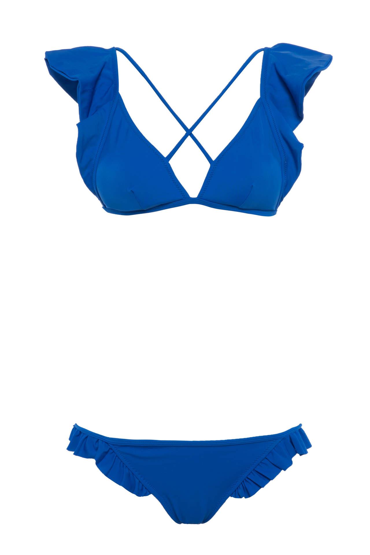 DeFacto Kadın Fırfır Detaylı Üçgen Bikini Üstü Mavi female