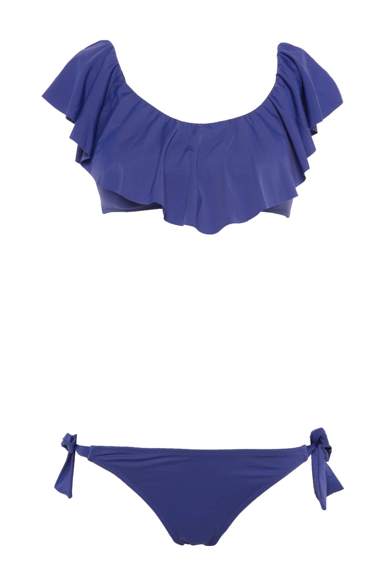 DeFacto Kadın Karmen Yaka Fırfır Detaylı Bikini Takımı Mavi female