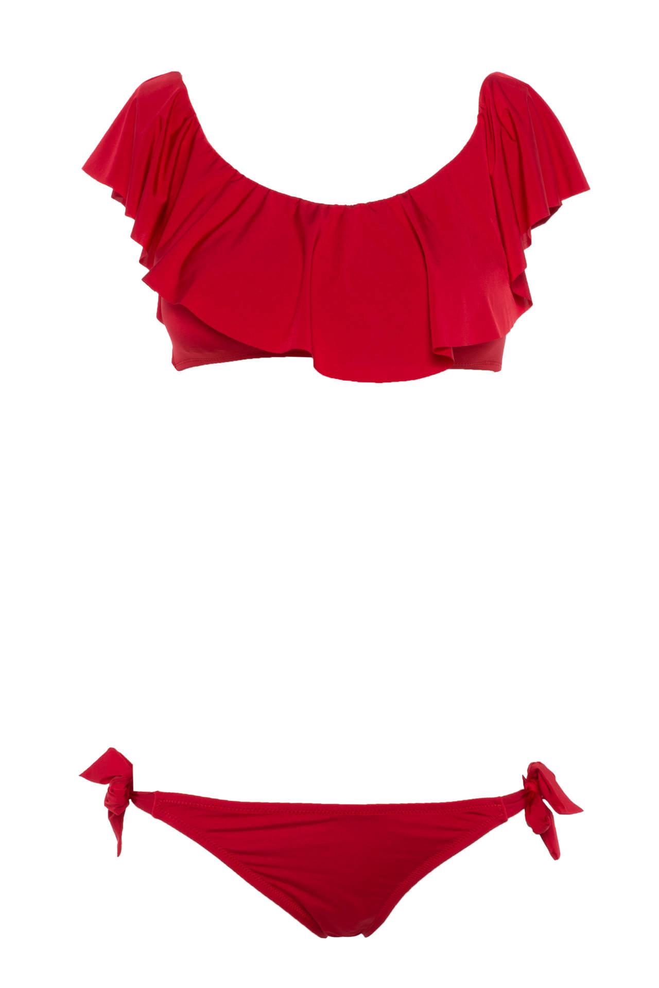DeFacto Kadın Karmen Yaka Fırfır Detaylı Bikini Takımı Kırmızı female
