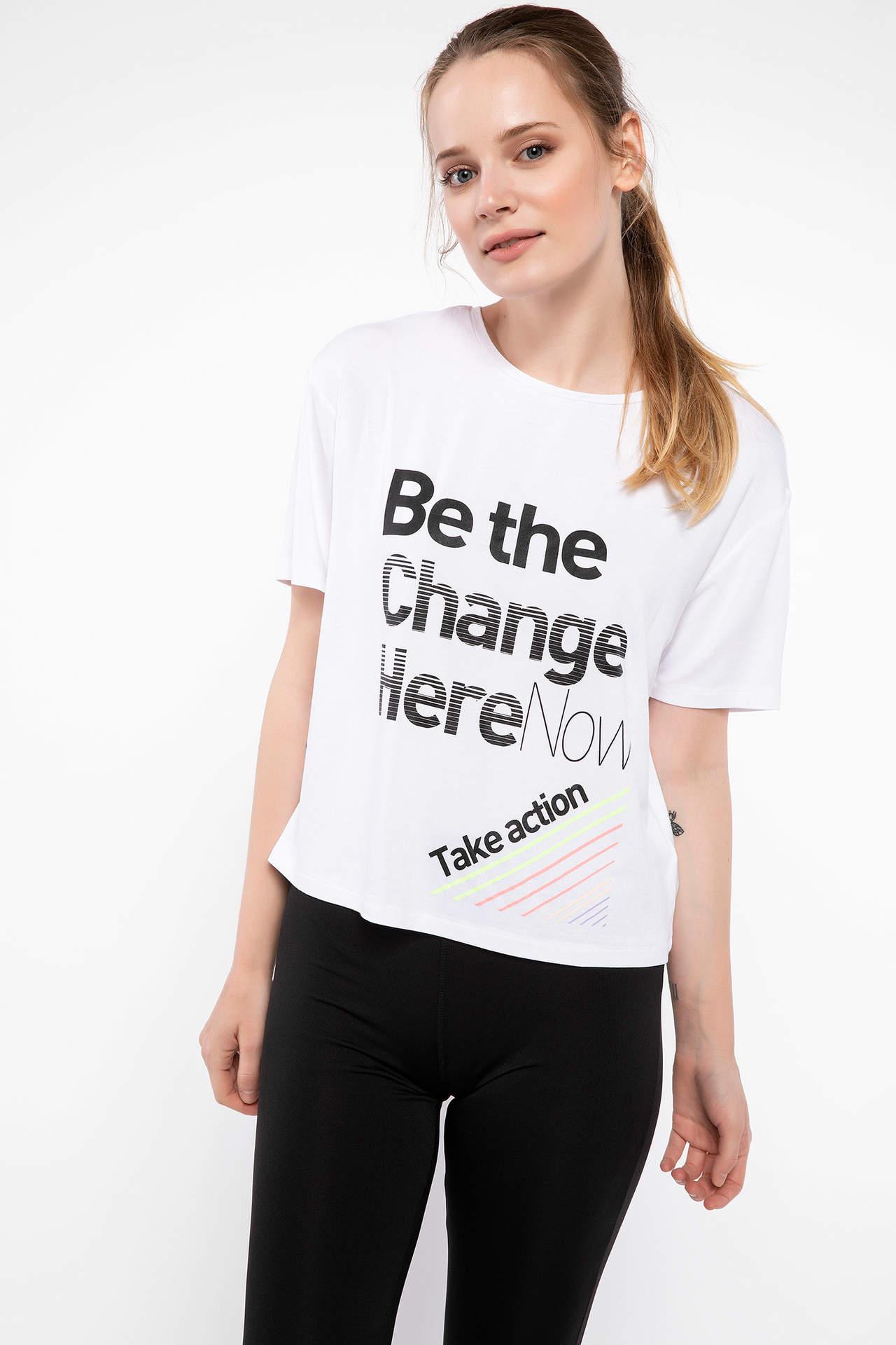 DeFacto Kadın Baskılı Sporcu T-shirt Beyaz female
