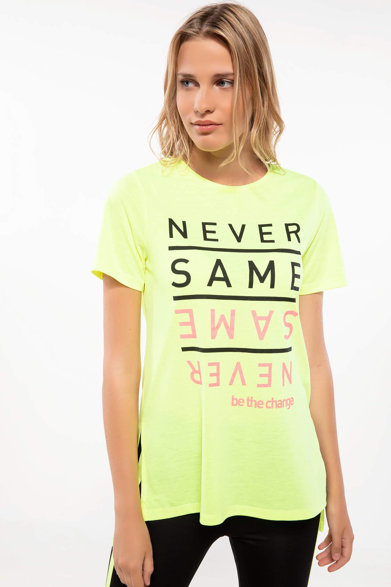 DeFacto Kadın Slogan Baskılı Sporcu T-shirt Sarı female