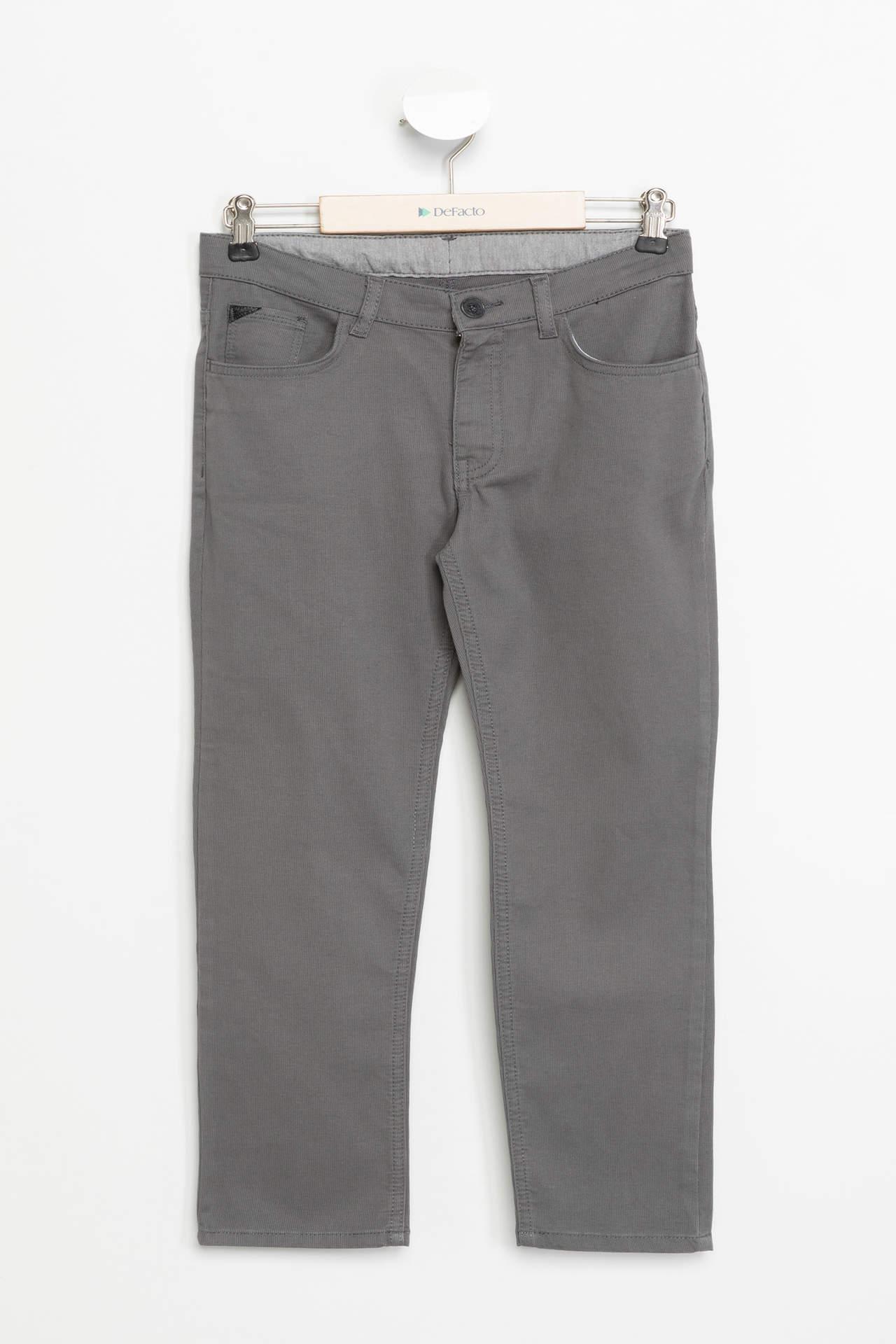 DeFacto Erkek Çocuk Slim Fit Pantolon Gri male