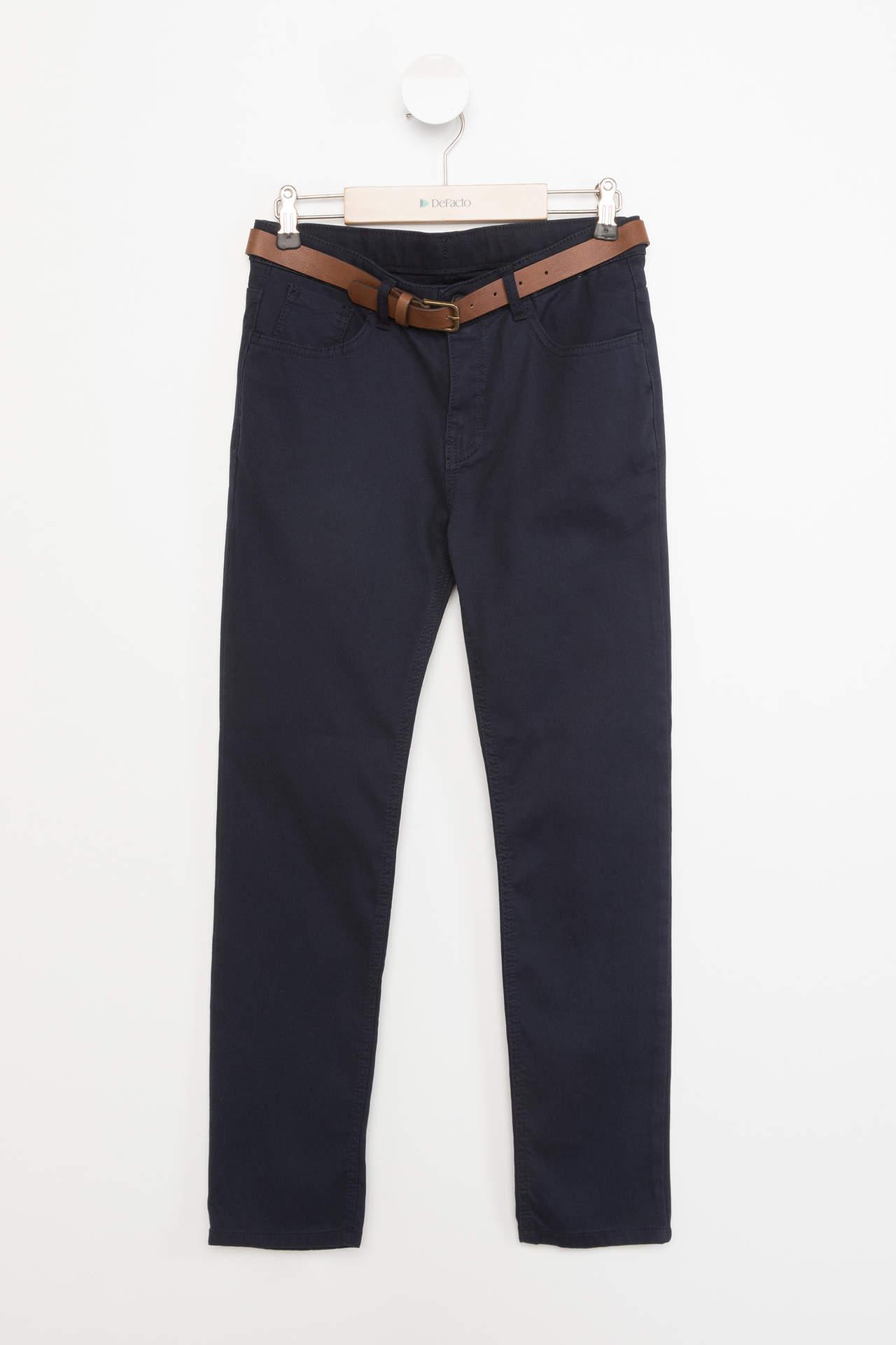 DeFacto Erkek Çocuk Kemerli Slim Fit Pantolon Lacivert male