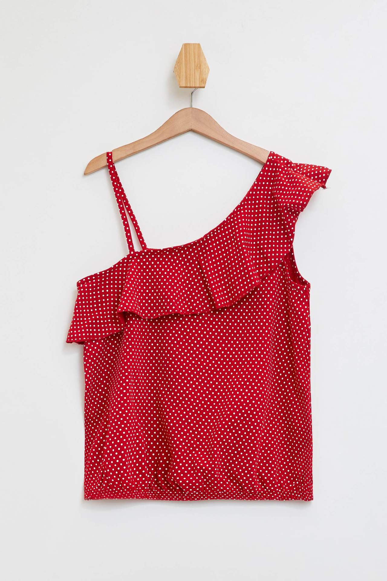 DeFacto Kız Çocuk Fırfır Detaylı Bluz Kırmızı female