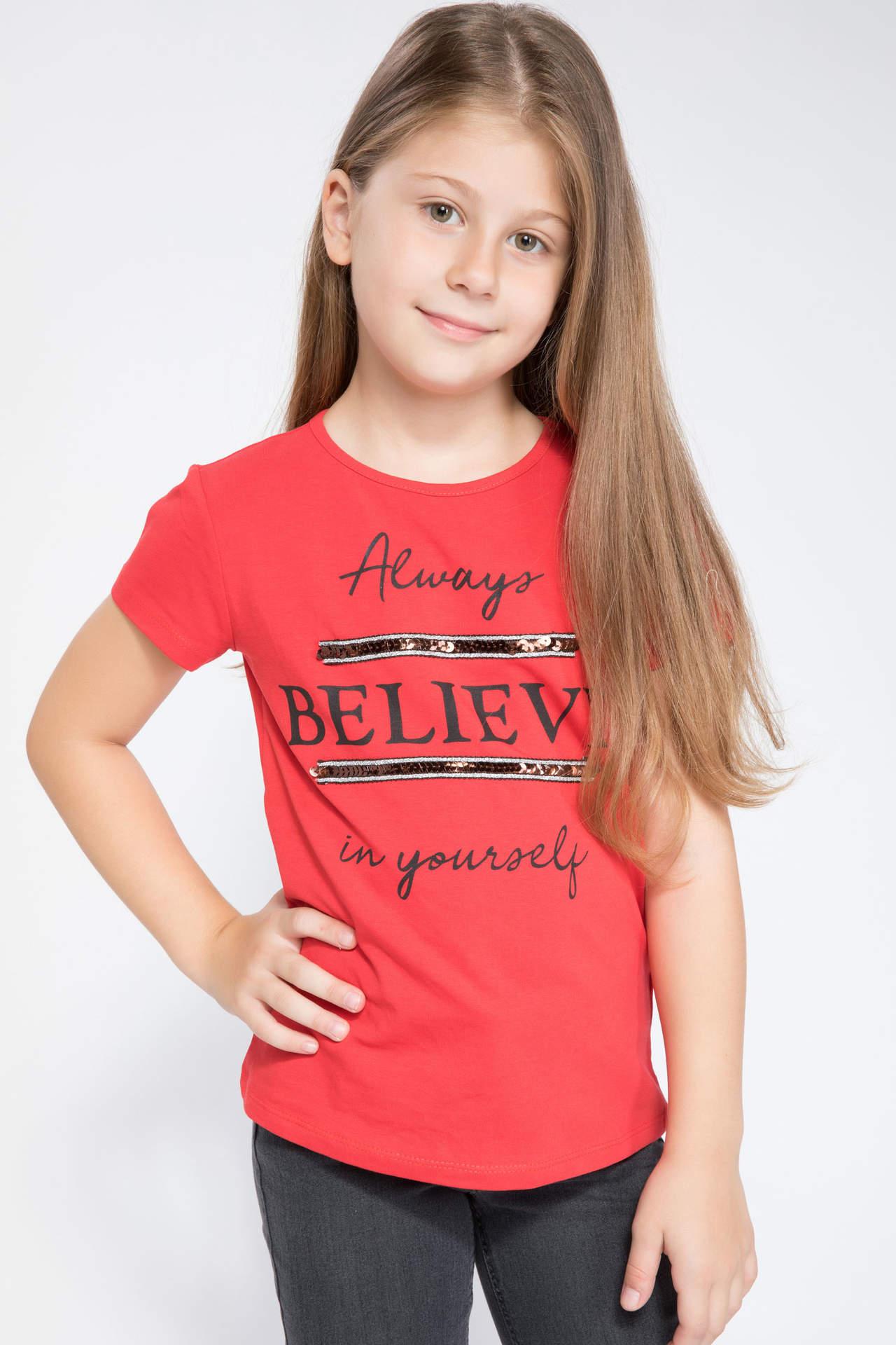 DeFacto Kız Çocuk Baskılı Payet Detaylı T-shirt Kırmızı female