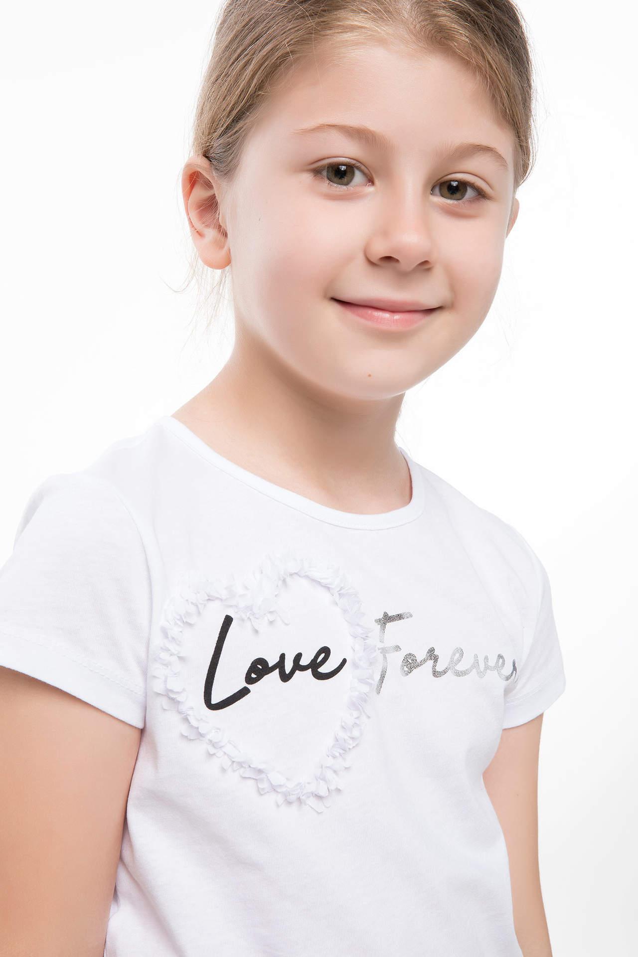 DeFacto Kız Çocuk Tül Aksesuar Detaylı T-shirt Beyaz female