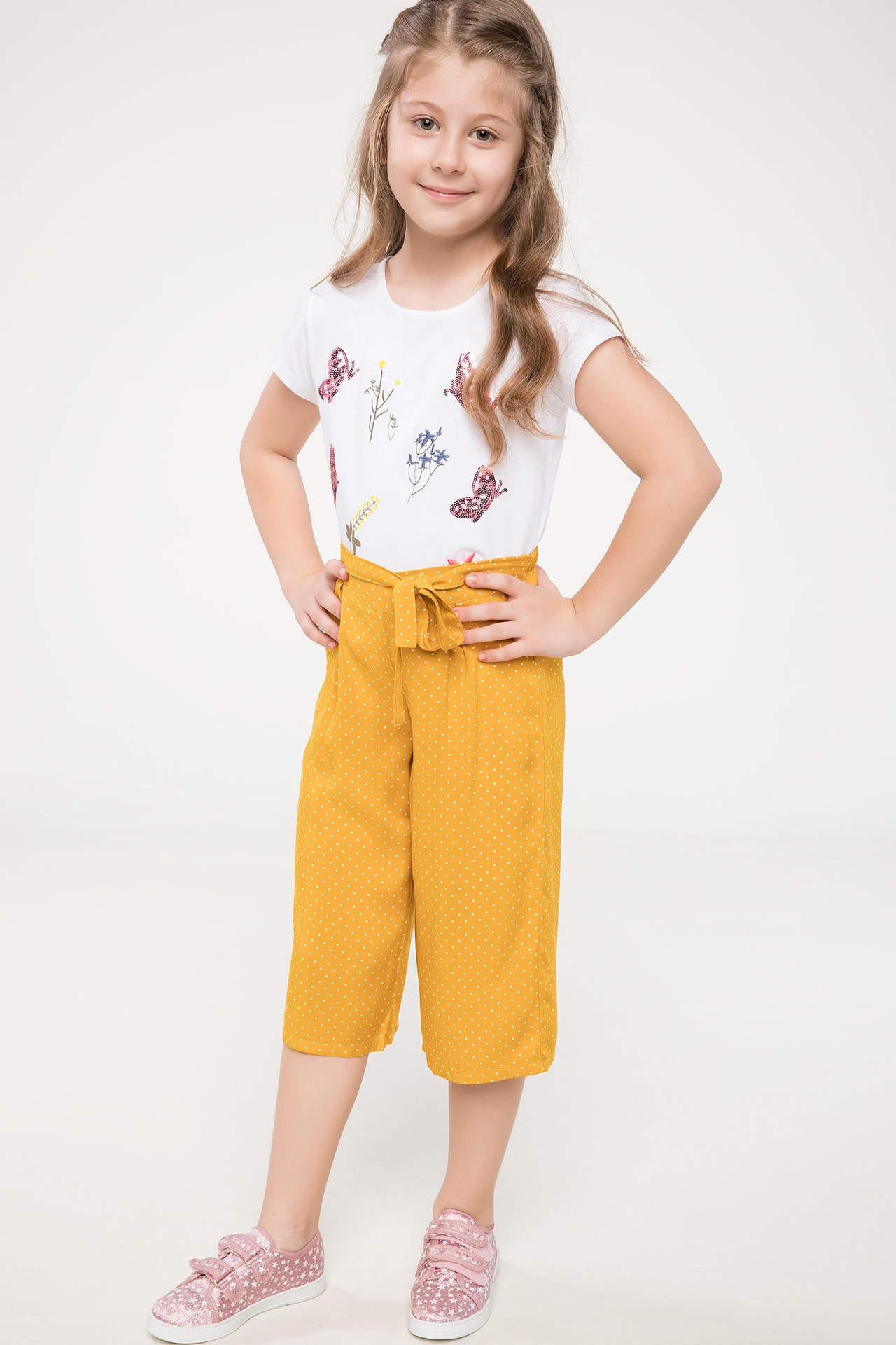 DeFacto Kız Çocuk Kemer Detaylı Rahat Kesim Pantolon Sarı female