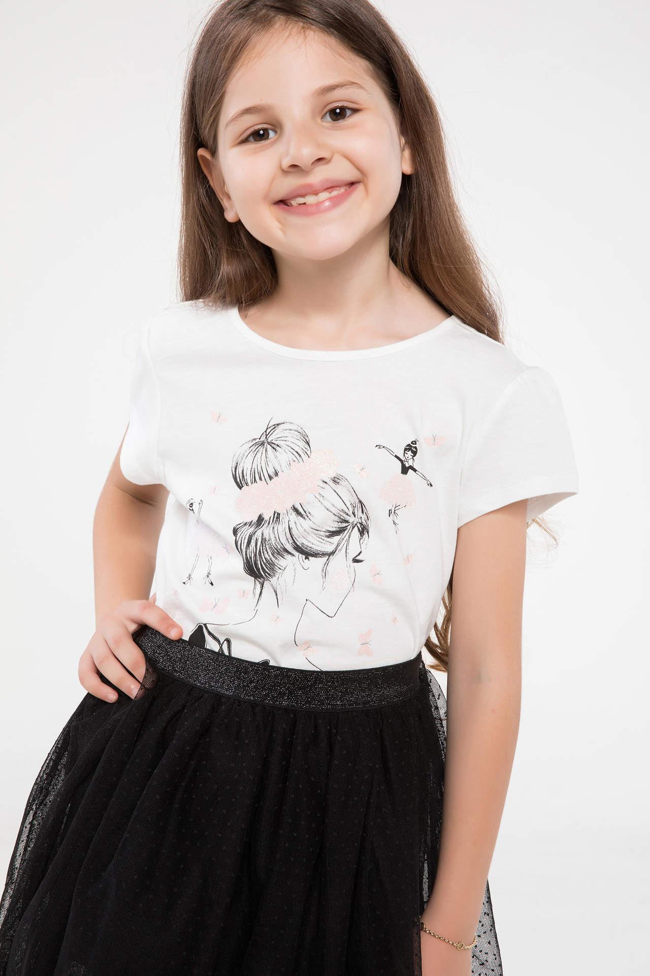 DeFacto Kız Çocuk Baskılı Slim Fit T-shirt Ekru female