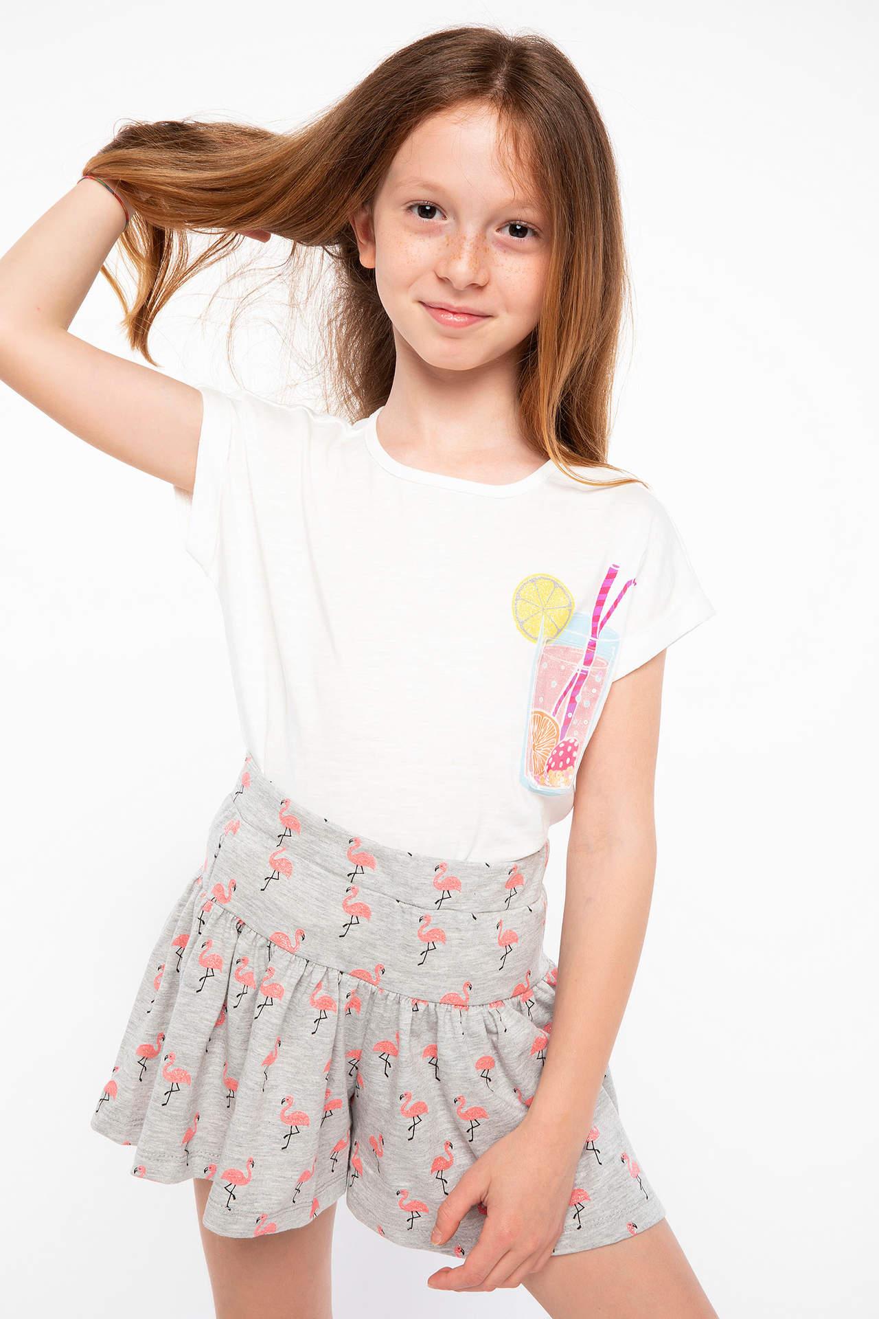 DeFacto Kız Çocuk 3D Detaylı baskılı t-shirt Ekru female